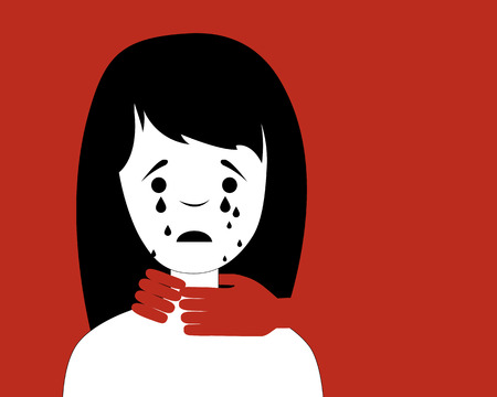 Domestic violence. Man strangling a woman. Vector illustration