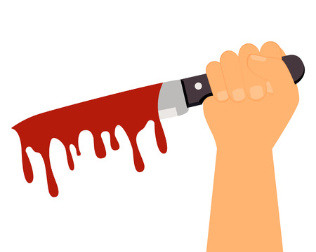 maniaco: Problemi sociali. L'uomo in possesso di un coltello insanguinato. Illustrazione vettoriale