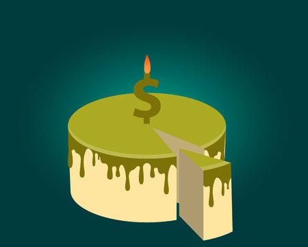 burning money: Share of profits. Piece of cake and candle. Vector illustration