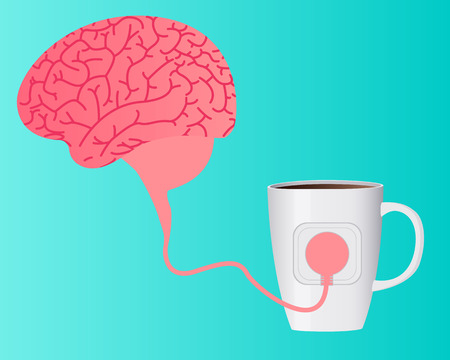 caffeine: Charging brain caffeine. The human brain is a wire connected to a cup of coffee. Vector illustration