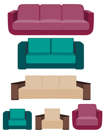 Set of icons. Sofa and chair isolated on white background. Vector illustration