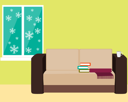 cold room: Comfortable room with a sofa and a window with snowflakes. Vector illustration