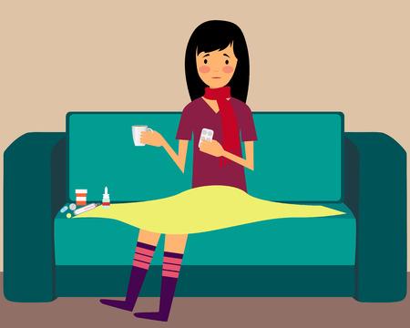 ragazza malata: Malato donna seduta su un divano e in possesso di pillole. Illustrazione vettoriale