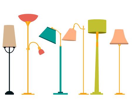 Lámpara de pie Set. El diseño clásico y moderno. Ilustración vectorial