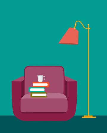 reading room: Reading room. Interior with a chair, books and a floor lamp. Vector illustration Illustration