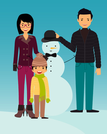 builds: Family builds snowman. Kid play outdoors in winter. Vector illustration Illustration