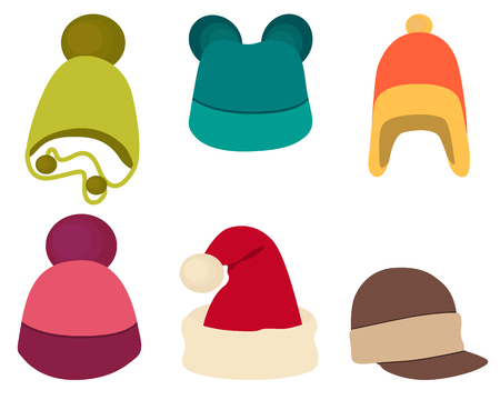 ropa de invierno: Establecer sombrero de invierno aislados en fondo blanco. Ilustraci�n vectorial