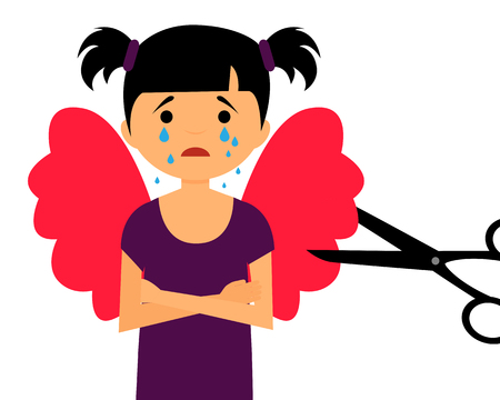 violencia familiar: Growing up and loss of dreams. The child cut wings. Vector illustration