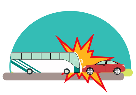 crashed: Road accident. Bus with passengers crashed into a car. Vector illustration