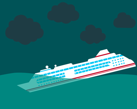 Shipwreck Cruise ship sinking in the ocean.  Illustration