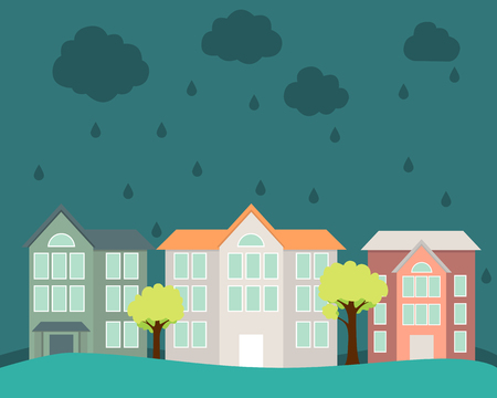flood: Flood. Street with houses and trees flooded water. Vector illustration Illustration