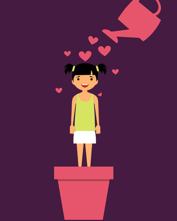 watering pot: Parenting child with love. A girl stands in flower pot and watered from a watering hearts. Vector illustration