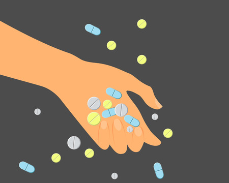 overdose: Suicide. Overdose of drugs. Hand with pills. Vector illustration