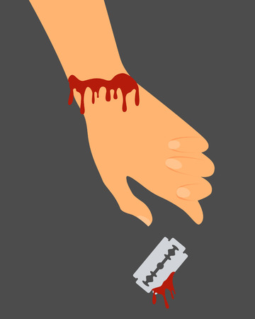 blade cut: Suicide. The cut veins. The hand with the blade in the blood. Vector illustration