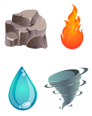 Set of four natural elements. Earth, fire, water, air. Vector illustration