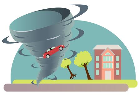Tornado árbol torcido y un coche. Ilustración vectorial