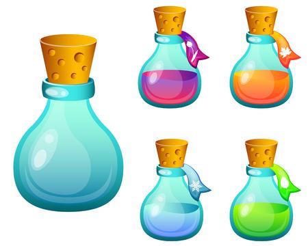 spells: Set bottles with magic spells. Game Design. Vector illustration Illustration
