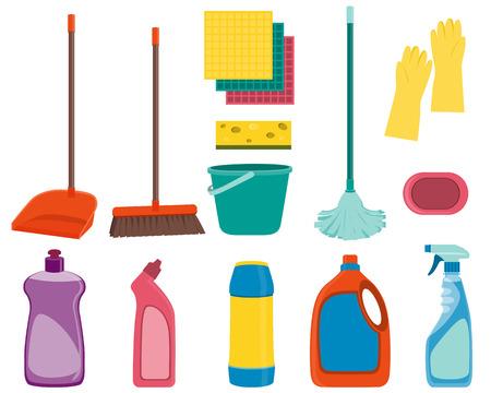 dishwashing liquid: Set tools for cleaning isolated on white background. Vector illustration