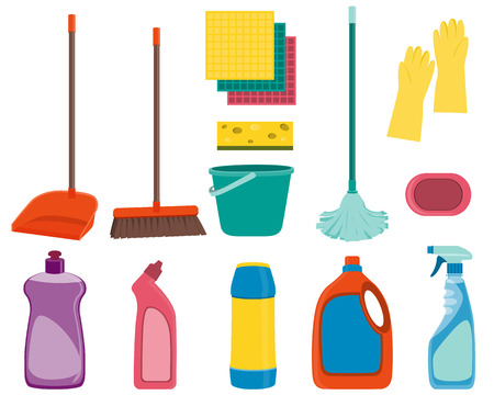 Set tools voor het schoonmaken op een witte achtergrond. vector illustratie Stock Illustratie
