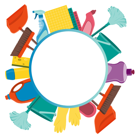 Round background tools for cleaning. Vector illustration 일러스트