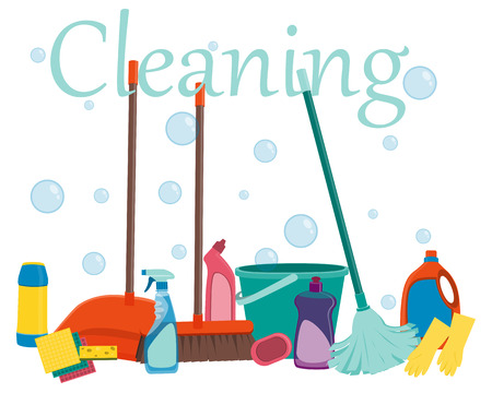 Poster tools for cleaning on a white background and soap bubbles. Vector illustration