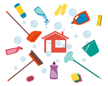 House cleaning. Poster tools for cleaning on a white background and soap bubbles. Vector illustration
