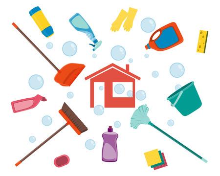 Huis schoonmaken. Poster gereedschappen voor het schoonmaken op een witte achtergrond en zeepbellen. vector illustratie
