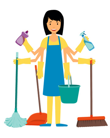 workaholic: The concept of multitasking housewife. Woman and cleaning tools. Vector illustration Illustration