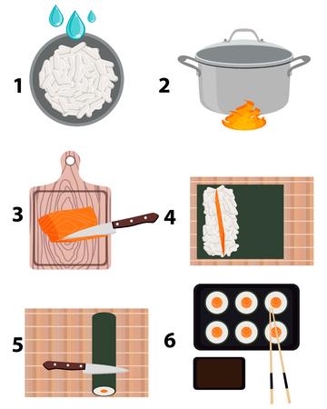 Koken sushi maki. Stap voor stap instructies. Vector illustratie