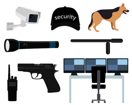 flat screen: Icon set security isolated on white background. Vector illustration