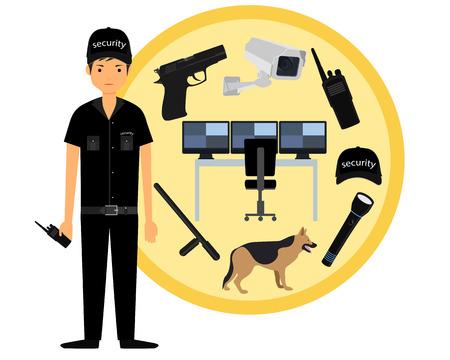 gun control: Security guard. Icon set security. Vector illustration