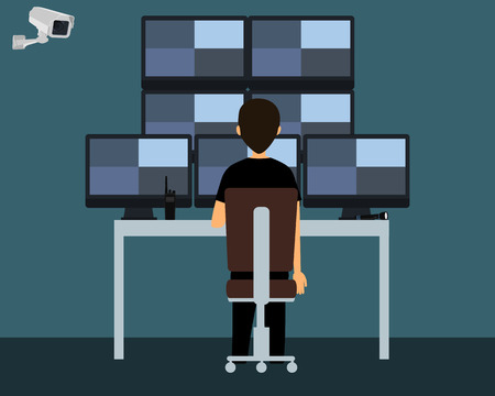 Workplace security guard. The security guard watching a video from surveillance cameras. Vector illustration Vettoriali