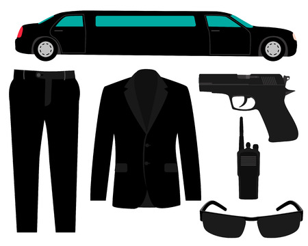 bodyguard: Icon set bodyguard. The gun, suit and a limousine. Vector illustration