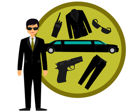limousine: Bodyguard and accessories. The gun, suit and a limousine. Vector illustration Illustration