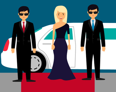 superstar: Superstar with bodyguards on the red carpet on the background of a limousine. Vector illustration