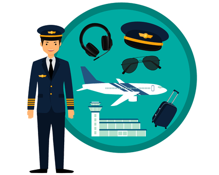 Piloot in uniform en iconen set. Vector illustratie