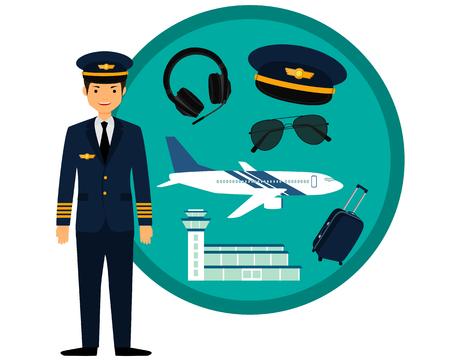 pilotos aviadores: piloto de avión en uniforme y los iconos fijados. ilustración vectorial Vectores