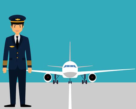 De piloot op de startbaan in de buurt van het vliegtuig. Vector illustratie