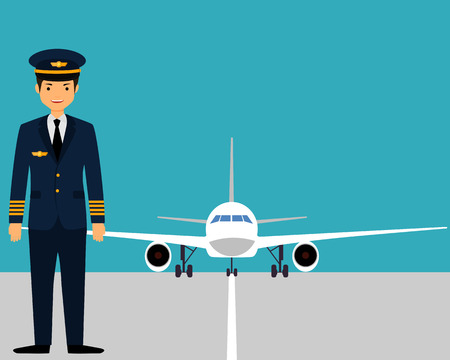 The pilot on the runway near the plane. Vector illustration Illustration