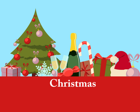 christmas hats: Greeting Christmas card. Christmas tree, gift and champagne. Vector illustration
