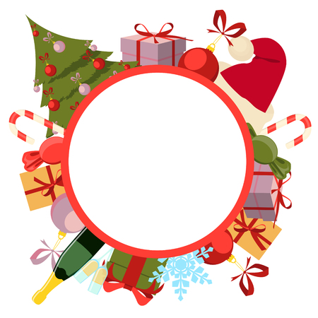 christmas drink: Greeting Christmas card. Round background Christmas. Vector illustration