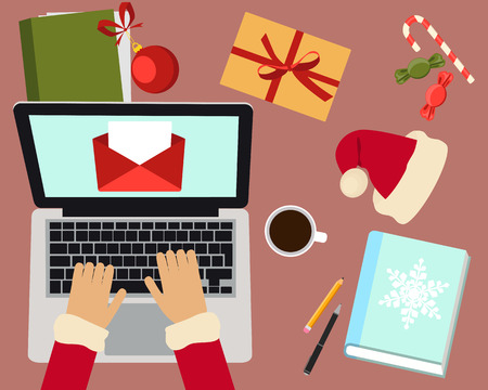 letter from santa: Workplace of Santa Claus. Santa Claus reading a letter. Vector illustration