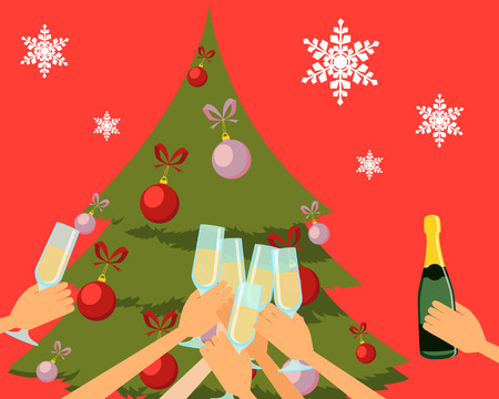 new year party: New Year party. People holding glasses of champagne. Vector illustration Illustration