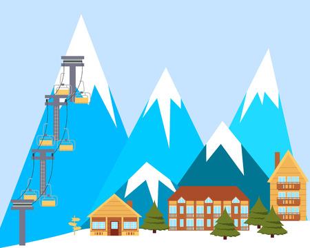 ski resort: Ski resort. Mountain landscape with wooden houses. Vector illustration