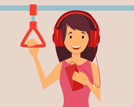 escuchando musica: Pasajeros Muchacha feliz que escucha la música que viaja en el metro. Ilustración vectorial Vectores