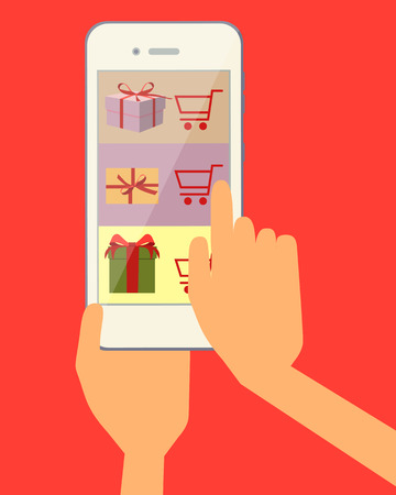 ordering: Ordering online gift through the web site using a mobile phone. Vector illustration Illustration
