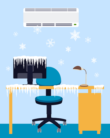 design drawing: Frozen workplace under a powerful air conditioner. Vector illustration