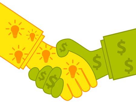 buen trato: La venta de las ideas. Buen negocio. Concepto de negocio. Ilustración vectorial