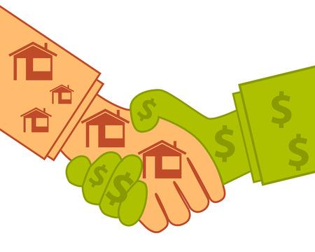 buen trato: La compra de bienes raíces. Buen negocio. Concepto de negocio. Ilustración vectorial