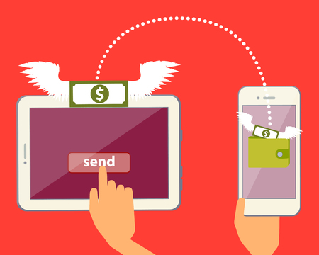 receive: Send and receive money online via the Internet. Vector illustration